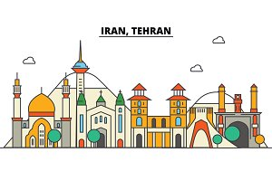 Iran, Tehran. City skyline: architecture, buildings, streets, silhouette, landscape, panorama, landmarks. Editable strokes. Flat design line vector illustration concept. Isolated icons set