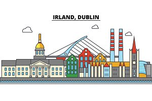 Irland, Dublin. City skyline: architecture, buildings, streets, silhouette, landscape, panorama, landmarks. Editable strokes. Flat design line vector illustration concept. Isolated icons set