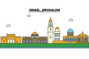 Israel, Jerusalem. City skyline: architecture, buildings, streets, silhouette, landscape, panorama, landmarks. Editable strokes. Flat design line vector illustration concept. Isolated icons set