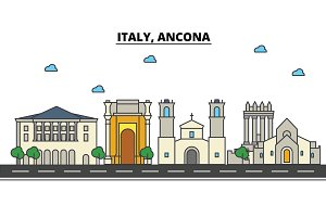 Italy, Ancona. City skyline: architecture, buildings, streets, silhouette, landscape, panorama, landmarks. Editable strokes. Flat design line vector illustration concept. Isolated icons set