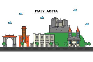 Italy, Aosta. City skyline: architecture, buildings, streets, silhouette, landscape, panorama, landmarks. Editable strokes. Flat design line vector illustration concept. Isolated icons set