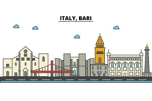 Italy, Bari. City skyline: architecture, buildings, streets, silhouette, landscape, panorama, landmarks. Editable strokes. Flat design line vector illustration concept. Isolated icons set