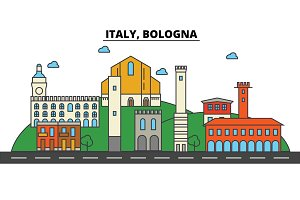 Italy, Bologna. City skyline: architecture, buildings, streets, silhouette, landscape, panorama, landmarks. Editable strokes. Flat design line vector illustration concept. Isolated icons set