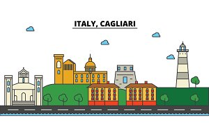 Italy, Cagliari. City skyline: architecture, buildings, streets, silhouette, landscape, panorama, landmarks. Editable strokes. Flat design line vector illustration concept. Isolated icons set
