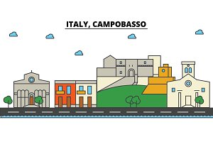 Italy, Campobasso. City skyline: architecture, buildings, streets, silhouette, landscape, panorama, landmarks. Editable strokes. Flat design line vector illustration concept. Isolated icons set