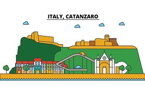 Italy, Catanzaro. City skyline: architecture, buildings, streets, silhouette, landscape, panorama, landmarks. Editable strokes. Flat design line vector illustration concept. Isolated icons set