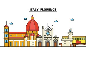 Italy, Florence. City skyline: architecture, buildings, streets, silhouette, landscape, panorama, landmarks. Editable strokes. Flat design line vector illustration concept. Isolated icons set