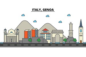 Italy, Genoa. City skyline: architecture, buildings, streets, silhouette, landscape, panorama, landmarks. Editable strokes. Flat design line vector illustration concept. Isolated icons set