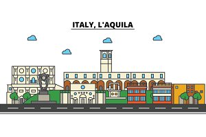 Italy, L'aquila. City skyline: architecture, buildings, streets, silhouette, landscape, panorama, landmarks. Editable strokes. Flat design line vector illustration concept. Isolated icons set