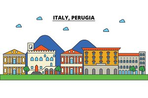 Italy, Perugia. City skyline: architecture, buildings, streets, silhouette, landscape, panorama, landmarks. Editable strokes. Flat design line vector illustration concept. Isolated icons set