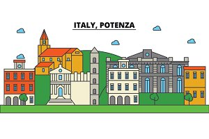 Italy, Potenza. City skyline: architecture, buildings, streets, silhouette, landscape, panorama, landmarks. Editable strokes. Flat design line vector illustration concept. Isolated icons set
