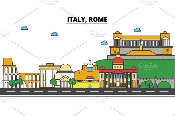 Italy Rome City Skyline Architecture Buildings Streets Silhouette Landscape Panorama Landmarks Editable Strokes Flat Design Line Vector Illustration Concept Isolated Icons Set