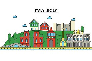 Italy, Sicily. City skyline: architecture, buildings, streets, silhouette, landscape, panorama, landmarks. Editable strokes. Flat design line vector illustration concept. Isolated icons set