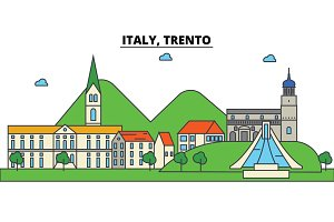 Italy, Trento. City skyline: architecture, buildings, streets, silhouette, landscape, panorama, landmarks. Editable strokes. Flat design line vector illustration concept. Isolated icons set
