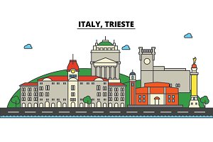 Italy, Trieste. City skyline: architecture, buildings, streets, silhouette, landscape, panorama, landmarks. Editable strokes. Flat design line vector illustration concept. Isolated icons set