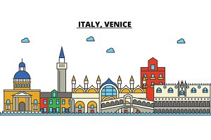 Italy, Venice. City skyline: architecture, buildings, streets, silhouette, landscape, panorama, landmarks. Editable strokes. Flat design line vector illustration concept. Isolated icons set