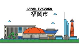 Japan, Fukuoka. City skyline: architecture, buildings, streets, silhouette, landscape, panorama, landmarks. Editable strokes. Flat design line vector illustration concept. Isolated icons set