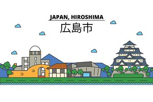 Japan, Hiroshima. City skyline: architecture, buildings, streets, silhouette, landscape, panorama, landmarks. Editable strokes. Flat design line vector illustration concept. Isolated icons set
