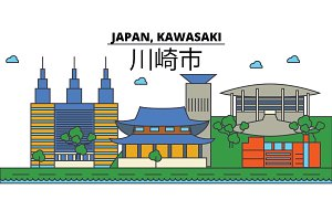 Japan, Kawasaki. City skyline: architecture, buildings, streets, silhouette, landscape, panorama, landmarks. Editable strokes. Flat design line vector illustration concept. Isolated icons set