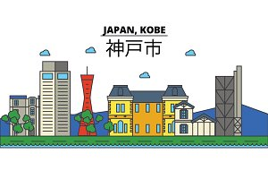 Japan, Kobe. City skyline: architecture, buildings, streets, silhouette, landscape, panorama, landmarks. Editable strokes. Flat design line vector illustration concept. Isolated icons set