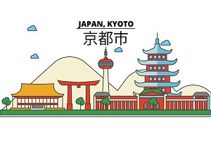 Japan, Kyoto. City skyline: architecture, buildings, streets, silhouette, landscape, panorama, landmarks. Editable strokes. Flat design line vector illustration concept. Isolated icons set