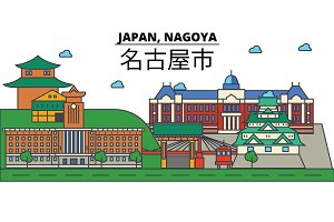 Japan, Nagoya. City skyline: architecture, buildings, streets, silhouette, landscape, panorama, landmarks. Editable strokes. Flat design line vector illustration concept. Isolated icons set