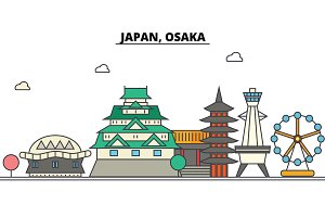 Japan, Osaka. City skyline: architecture, buildings, streets, silhouette, landscape, panorama, landmarks. Editable strokes. Flat design line vector illustration concept. Isolated icons set