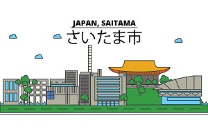Japan, Saitama. City skyline: architecture, buildings, streets, silhouette, landscape, panorama, landmarks. Editable strokes. Flat design line vector illustration concept. Isolated icons set