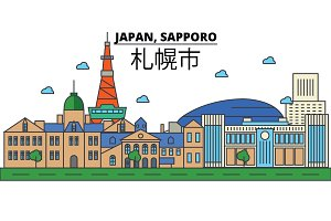 Japan, Sapporo. City skyline: architecture, buildings, streets, silhouette, landscape, panorama, landmarks. Editable strokes. Flat design line vector illustration concept. Isolated icons set