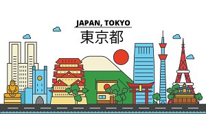 Japan, Tokyo. City skyline: architecture, buildings, streets, silhouette, landscape, panorama, landmarks. Editable strokes. Flat design line vector illustration concept. Isolated icons set