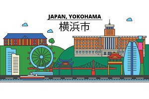 Japan, Yokohama. City skyline: architecture, buildings, streets, silhouette, landscape, panorama, landmarks. Editable strokes. Flat design line vector illustration concept. Isolated icons set