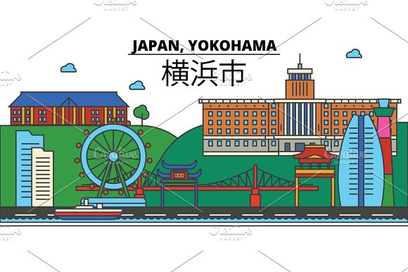 Japan Yokohama City Skyline Architecture Buildings Streets Silhouette Landscape Panorama Landmarks Editable Strokes Flat Design Line Vector Illustration Concept Isolated Icons Set