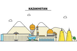 Kazakhstan, . City skyline: architecture, buildings, streets, silhouette, landscape, panorama, landmarks. Editable strokes. Flat design line vector illustration concept. Isolated icons set
