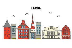 Latvia, . City skyline: architecture, buildings, streets, silhouette, landscape, panorama, landmarks. Editable strokes. Flat design line vector illustration concept. Isolated icons set
