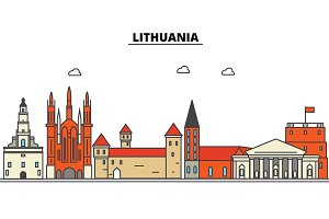 Lithuania, . City skyline: architecture, buildings, streets, silhouette, landscape, panorama, landmarks. Editable strokes. Flat design line vector illustration concept. Isolated icons set