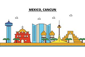 Mexico, Cancun. City skyline: architecture, buildings, streets, silhouette, landscape, panorama, landmarks. Editable strokes. Flat design line vector illustration concept. Isolated icons set