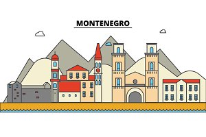 Montenegro, . City skyline: architecture, buildings, streets, silhouette, landscape, panorama, landmarks. Editable strokes. Flat design line vector illustration concept. Isolated icons set