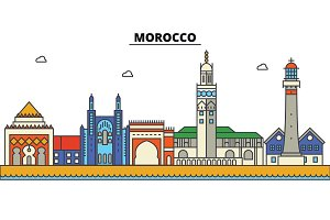 Morocco, . City skyline: architecture, buildings, streets, silhouette, landscape, panorama, landmarks. Editable strokes. Flat design line vector illustration concept. Isolated icons set