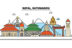 Nepal, Kathmandu. City skyline: architecture, buildings, streets, silhouette, landscape, panorama, landmarks. Editable strokes. Flat design line vector illustration concept. Isolated icons set