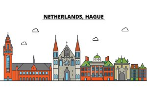 Netherlands, Hague. City skyline: architecture, buildings, streets, silhouette, landscape, panorama, landmarks. Editable strokes. Flat design line vector illustration concept. Isolated icons set