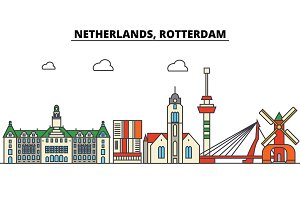 Netherlands, Rotterdam. City skyline: architecture, buildings, streets, silhouette, landscape, panorama, landmarks. Editable strokes. Flat design line vector illustration concept. Isolated icons set
