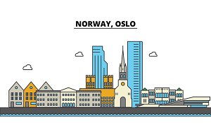 Norway, Oslo. City skyline: architecture, buildings, streets, silhouette, landscape, panorama, landmarks. Editable strokes. Flat design line vector illustration concept. Isolated icons set