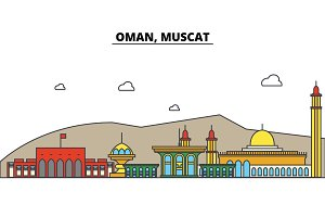 Oman, Muscat. City skyline: architecture, buildings, streets, silhouette, landscape, panorama, landmarks. Editable strokes. Flat design line vector illustration concept. Isolated icons set