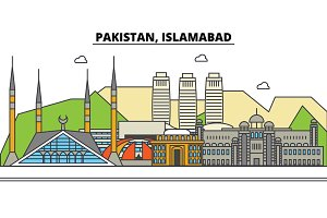 Pakistan, Islamabad. City skyline: architecture, buildings, streets, silhouette, landscape, panorama, landmarks. Editable strokes. Flat design line vector illustration concept. Isolated icons set