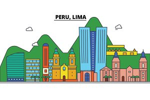Peru, Lima. City skyline: architecture, buildings, streets, silhouette, landscape, panorama, landmarks. Editable strokes. Flat design line vector illustration concept. Isolated icons set