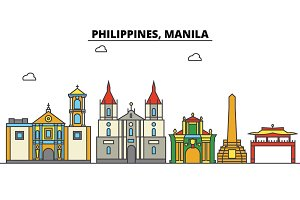 Philippines, Manila. City skyline: architecture, buildings, streets, silhouette, landscape, panorama, landmarks. Editable strokes. Flat design line vector illustration concept. Isolated icons set