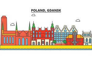 Poland, Gdansk. City skyline: architecture, buildings, streets, silhouette, landscape, panorama, landmarks. Editable strokes. Flat design line vector illustration concept. Isolated icons set