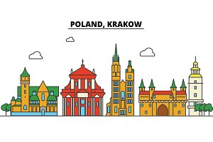 Poland, Krakow. City skyline: architecture, buildings, streets, silhouette, landscape, panorama, landmarks. Editable strokes. Flat design line vector illustration concept. Isolated icons set
