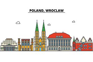 Poland, Wroclaw. City skyline: architecture, buildings, streets, silhouette, landscape, panorama, landmarks. Editable strokes. Flat design line vector illustration concept. Isolated icons set