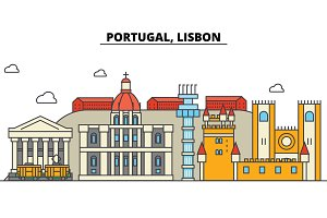 Portugal, Lisbon. City skyline: architecture, buildings, streets, silhouette, landscape, panorama, landmarks. Editable strokes. Flat design line vector illustration concept. Isolated icons set